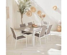 Salon de jardin table extensible - Chicago 210 Taupe - Table en aluminium 150/210cm avec rallonge