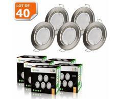 LOT DE 40 SPOT LED ENCASTRABLE COMPLETE RONDE FIXE ALU BROSSE eq. 50W