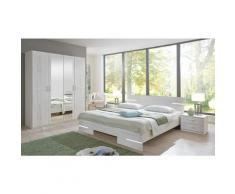 Pegane - Chambre à coucher complète adulte (lit 140x190 cm + 2 chevets + armoire), coloris