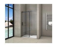 porte de douche coulissante 120x200cm porte de douche coulissante noir en 8mm verre anticalcaire