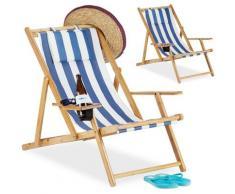 Chaise pliante lot de 2 en bambou tissu chaise de jardin balcon plage porte boissons porte verre,