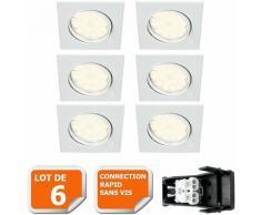 LOT DE 6 SPOT ENCASTRABLE ORIENTABLE LED CARRE GU10 230V eq. 50W BLANC NEUTRE