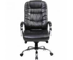 Chaise pivotante de bureau en cuir Verona - avec accoudoirs, noir