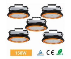 5×Anten 150W UFO LED Projecteur Industreil Suspension IP65 Haute Baie LED Rond 22000LM Éclairage