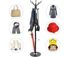 ®Porte-manteaux - Avec support parapluie - Socle en marbre - 170cm - Noir - Wyctin