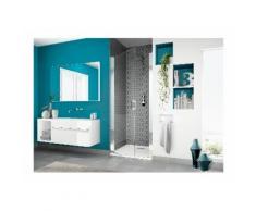 Paroi douche porte pivotante Kinedo Smart P, 140, verre transparent traité anticalcaire, blanc