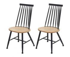 2x chaise de salle à manger HHG-873, chaise pour la cuisine, style rétro, métal, gastronomie ~