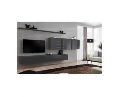 Price Factory - Ensemble meuble salon mural SWITCH VII design, coloris gris brillant. - Gris