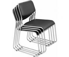Lot de 4 chaises de bureau conférence visiteur empilable en similicuir noir - noir