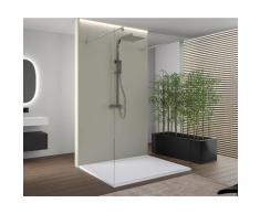 Espace de douche sans porte EX105 en verre véritable nano - clair - largeur sélectionnable: 1400mm