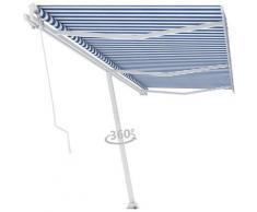 Auvent manuel rétractable sur pied 600x350 cm Bleu/Blanc