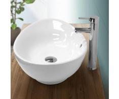 Lavabo vasque salle de bain ovale en céramique blanc suspendu/à poser 590x390mm