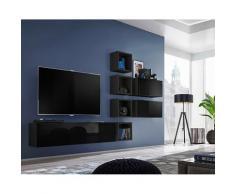 Price Factory - Ensemble meuble TV mural CUBE 7 design coloris noir et noir brillant. Meuble de