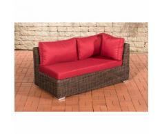 Canapé d'angle de 2 places Tessera rond/marron métallique Rouge rubin