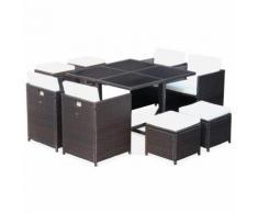 Salon de jardin Cubo chocolat table en résine tressée 4 à 8 places, fauteuils encastrables