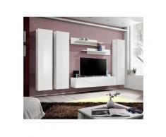 Meuble TV FLY C1 design, coloris blanc brillant. Meuble suspendu moderne et tendance pour votre
