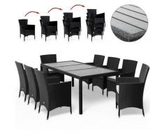 Salon de jardin en polyrotin Chaises empilable Plateau en WPC Jardin terrasse Sitzgruppe 8+1 (de)