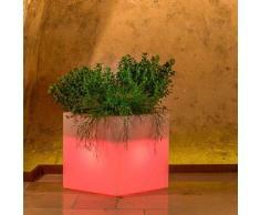 Idralite - Pot de fleurs lumineux cube Led carré en résine h 40 40x40 lampe rouge