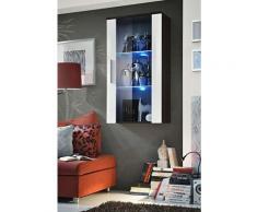 Price Factory - Vitrine LED Murale Design Neo II 110cm blanc et Wengé avec système LED. - Blanc