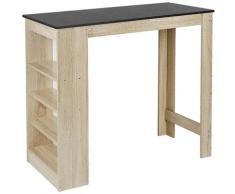 ® Table de bar fond chêne + noir 115 * 50 * 103CM - Dazhom