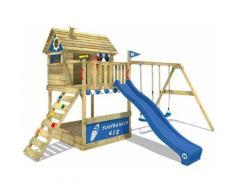 Portique de jeux en bois WICKEY Smart Seaside Aire de jeux avec toboggan bleu, balançoire et