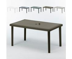 12 Table jardin rectangulaire en poly-rotin bar café bistrot 150x90 | Marron