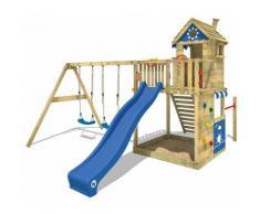 WICKEY Aire de jeux Portique bois Smart Sand avec balançoire et toboggan bleu Maison enfant