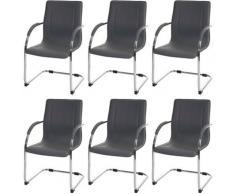 HHG - 6x Chaise de salle à manger Samara, chaise cantilever, chaise de cuisine avec dossier, PVC