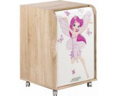 Caisson à rideau 2 tiroirs chêne naturel imprimé fée Orga