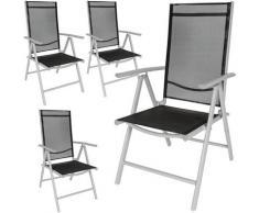 4 Chaises de Camping ou de Jardin Pliables Aluminium avec Accoudoirs et Dossier Haut Gris Argent
