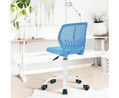 Chaise enfant étudiant ergonomique réglable roulant métal bleu blanc