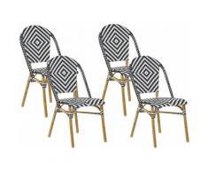 Beliani - Lot de 4 chaises de jardin en rotin noir et blanc RIFREDDO