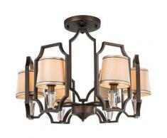 Globo - Plafonnier de style rustique de salon lustre en cristal et textile lustre en bronze 69005-6