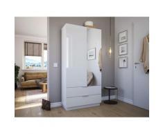 Meuble chaussures Castello-L 1porte miroir tiroirs pour 30paires Blanc brillant