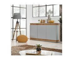 Price Factory - Buffet, bahut, enfilade MUNICH trois portes. Coloris gris perle et chêne. Style