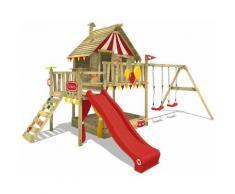 Aire de jeux Portique bois Smart Trip avec balançoire et toboggan rouge Maison enfant sur pilotis
