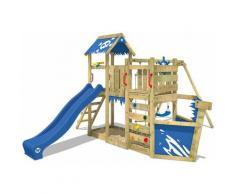 Aire de jeux Portique bois OceanFlyer avec balançoire et toboggan bleu Cabane enfant exterieur avec