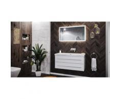 Damo avec vasque en marbre Carrara White 100cm sans pré-perçage & miroir à LED