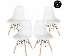 Pack 4 chaises blanches design nordique Sena pour salon balcon terrasse -McHaus