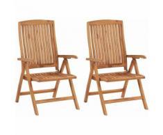 Chaises inclinables de jardin 2 pcs Bois de teck solide