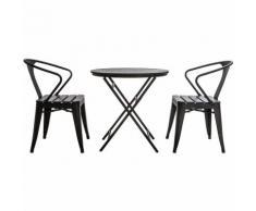 Salon de jardin avec table pliable et 2 chaises empilables bois et métal BERLINER
