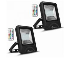 2× 50W RGB Projecteur LED IP65 Étanche Lampe Halogène 16 Couleurs 4 Modes, Ultra-Mince Spot
