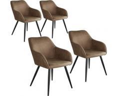 Tectake - Lot de 4 chaises tissu MARILYN - Chaise, chaise de salle à manger, chaise de salon