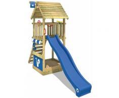 Aire de jeux Portique bois Smart Club Toit en bois avec toboggan bleu Maison enfant exterieur avec