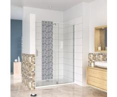 porte de douche coulissante 140x190cm en 8mm verre anticalcaire installation en niche