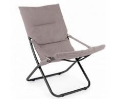 Chilienne Relax en aluminium coloris taupe - Dim : L 85 x P 58 x H 82 cm -PEGANE-