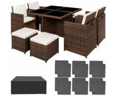 Tectake - Salon de jardin MANHATTAN - 4 Chaises 4 Tabourets 1 Table en Résine Tressée structure