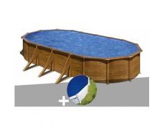 Kit piscine acier aspect bois Pacific ovale 7,44 x 3,99 x 1,22 m + Bâche à bulles - GRÉ
