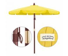 Parasol en bois Ø 330cm Jardin Extérieur Système à corde 100% Polyester - Jaune