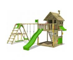 Aire de jeux Portique bois GroovyGarden avec balançoire SurfSwing et toboggan vert pomme Maison